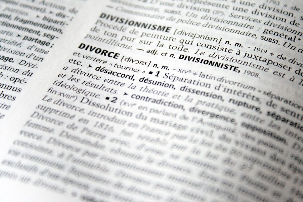 Page showing highlights of Divorce.